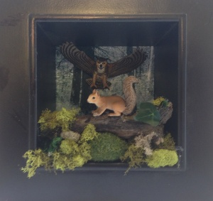Squirrel and Owl Diorama by Angie Zirbes